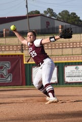 Pineville's Alexis Garoutte (25) fires a pitch against West Monroe High School Lady Rebels Thursday, March 28, 2019. Garoutte was named as a Co-MVP in District 2-5A.