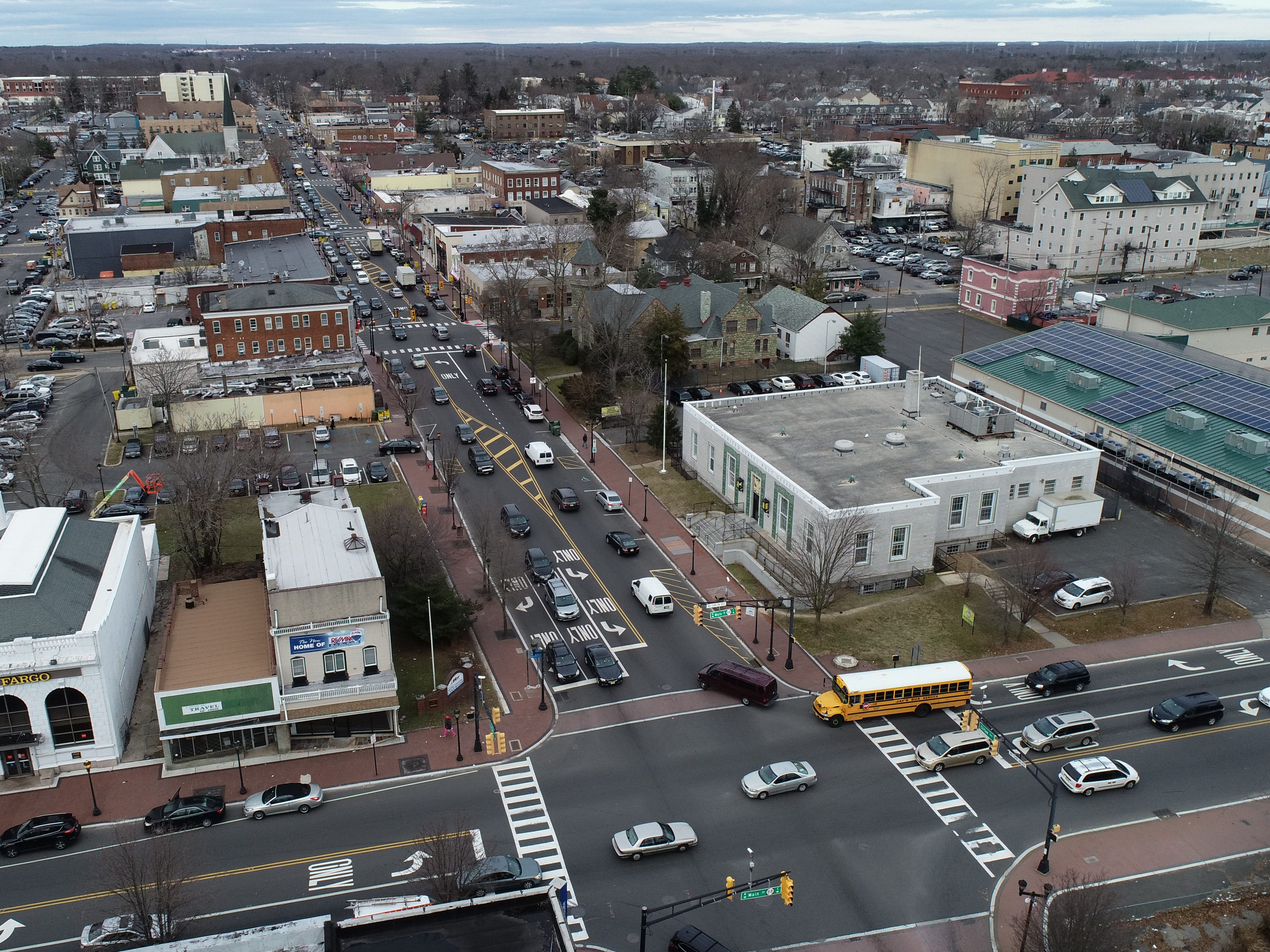 Aerial view of Lakewood looking north along Clifton Avenue from the intersection with Route 88 shown Thursday, January 3, 2019.