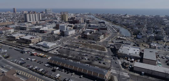 A view of Asbury Park (left) and Ocean Grove is shown from the air over the area of Springwood Avenue Wednesday, March 20, 2019.