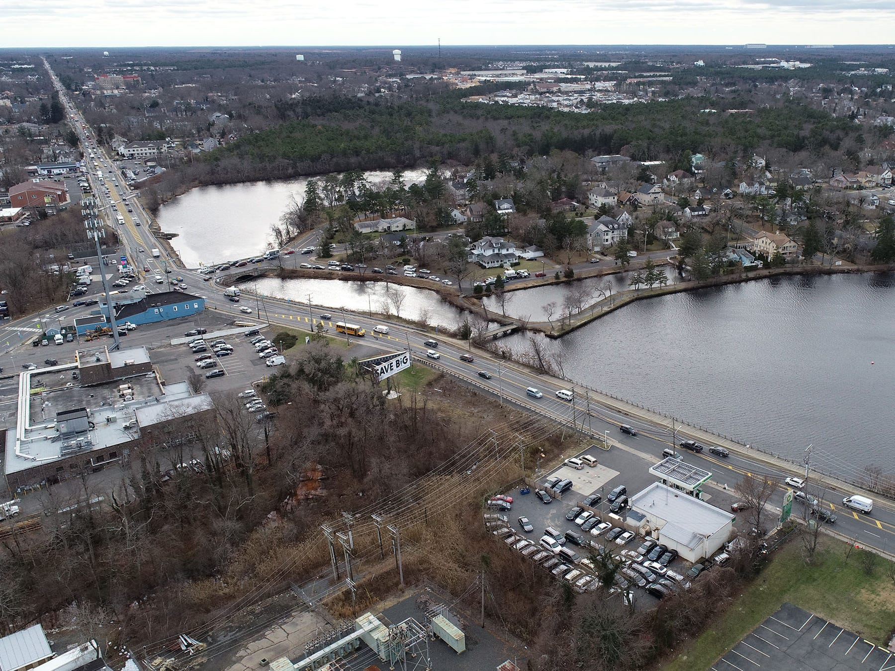 Aerial view of looking south along Route 9 from the area of Route 88 in Lakewood Thursday, January 3, 2019.