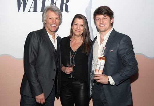 Jon Bon Jovi, Dorothea Hurley and Jesse Bon Jovi attend the Hampton Water Rosé Celebrates LA on March 28, 2019 in West Hollywood, California.
