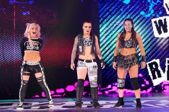Elmwood Park native Liv Morgan, left, competes for World Wrestling Entertainment as part of the faction The Riott Squad.