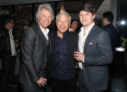 Jon Bon Jovi, Robert Kraft and Jesse Bongiovi attend the Hampton Water Rosé Celebrates LA on March 28, 2019 in West Hollywood, California.