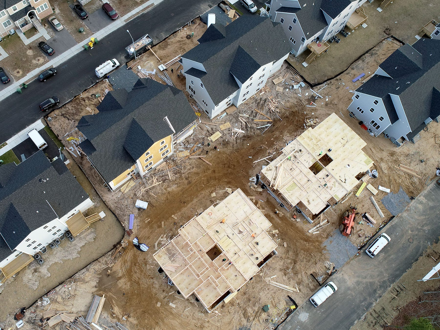Construction continues on homes along Prospect Avenue in Lakewood Thursday, January 3, 2019.