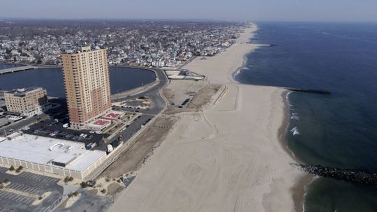 The north end of the Asbury Park shoreline is shown in this view looking north Wednesday, March 20, 2019.