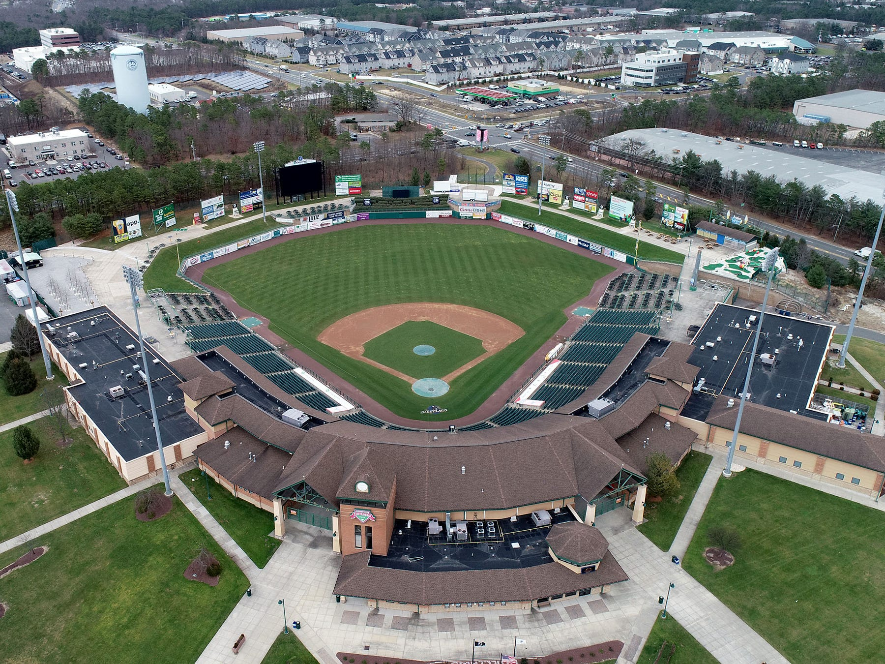 Aerial view of First Energy Park, home of the BlueClaws, in Lakewood is shown Thursday, January 3, 2019.