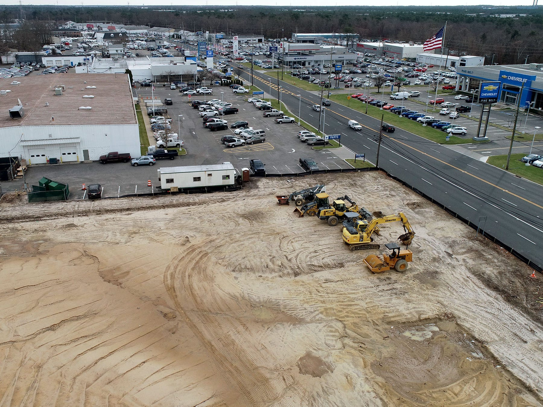 Land is cleared for a new car dealership along Route 88 at New Hampshire Avenue in Lakewood shown Thursday, January 3, 2019.