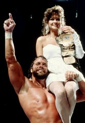 """Macho Man"" Randy Savage and Miss Elizabeth at WrestleMania IV in Atlantic City, 1988."