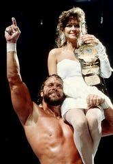"""Macho Man"" Randy Savage and Miss Elizabeth at WrestleMania IV in Atlantic City, 1988."