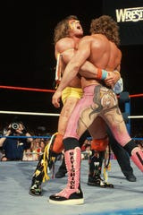 Ultimate Warrior, left, and Rick Rude at WrestleMania V in Atlantic City, 1989.