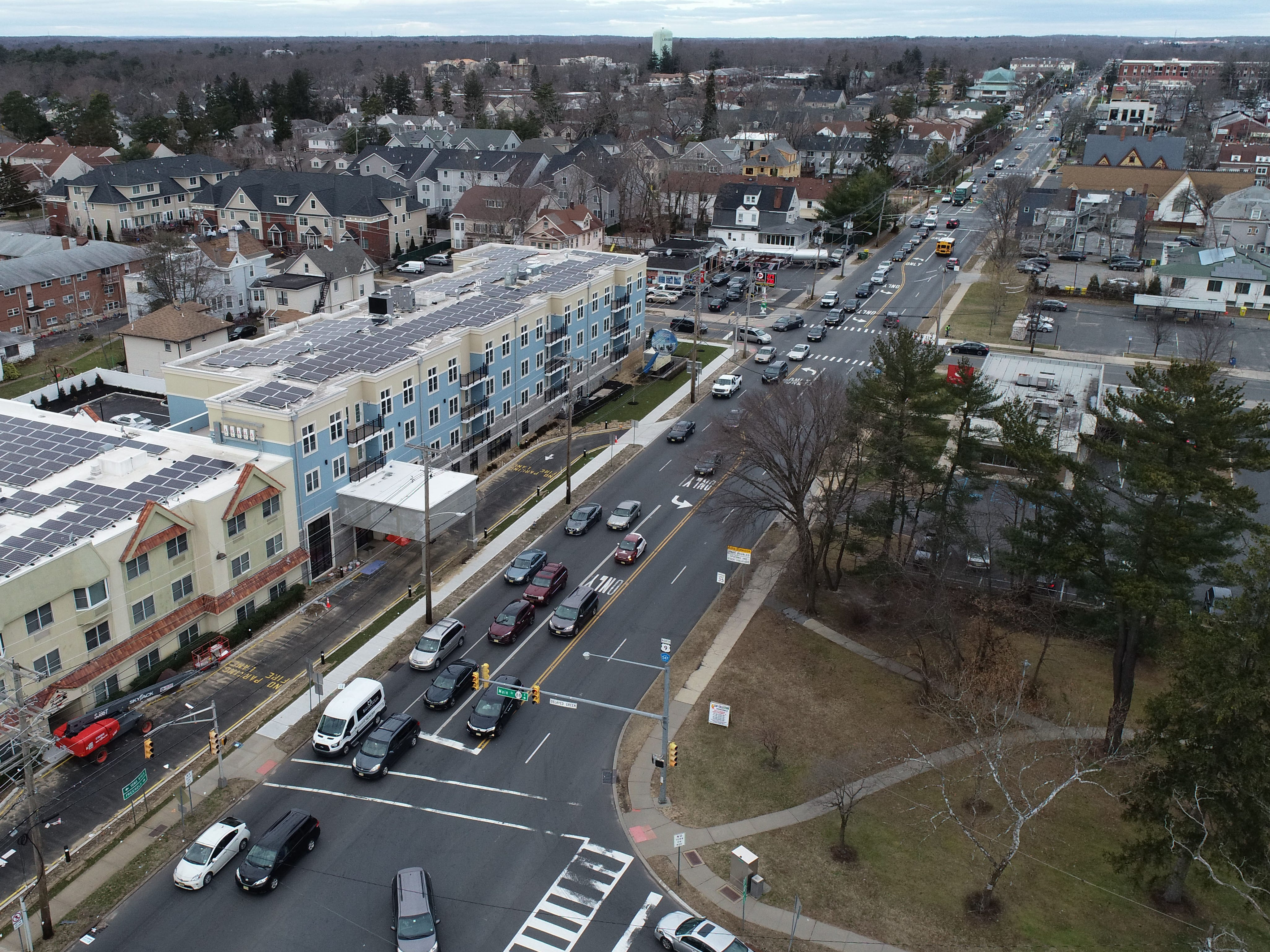 Aerial view of Lakewood looking north along Route 9 from the intersection with Route 88 Thursday, January 3, 2019.
