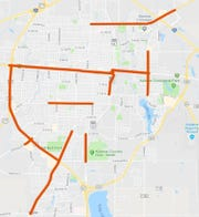 Standing along roadways and intersections at the locations in red is banned by a new Abilene ordinance as a safety issue.
