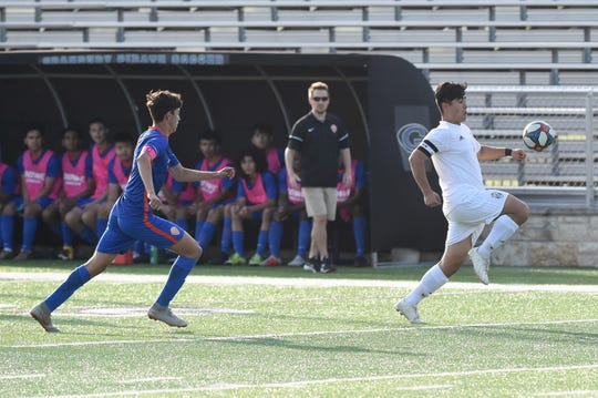 Abilene High's Bryan Bocanegra (1) settles the ball during the Region I-6A bi-district playoff against Arlington Bowie at Granbury's Pirate Stadium on Thursday, March 28, 2019. Bocanegra assisted on the Eagles first goal in the 4-2 loss.