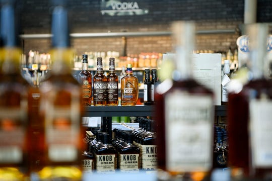 Rows of liquor for sale at the ABC Store on Tunnel Road in Asheville March 28, 2019.