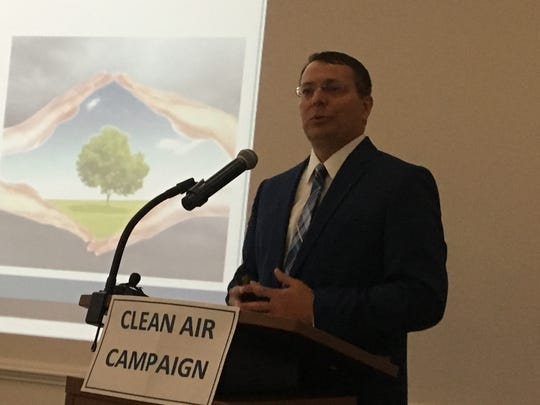 """Mike Abraczinskas, director of N.C. Division of Air Quality, spoke on air quality conditions and trends at the annual """"State of Our Air"""" conference March 29, 2019 at Land of Sky Regional Council in Asheville."""
