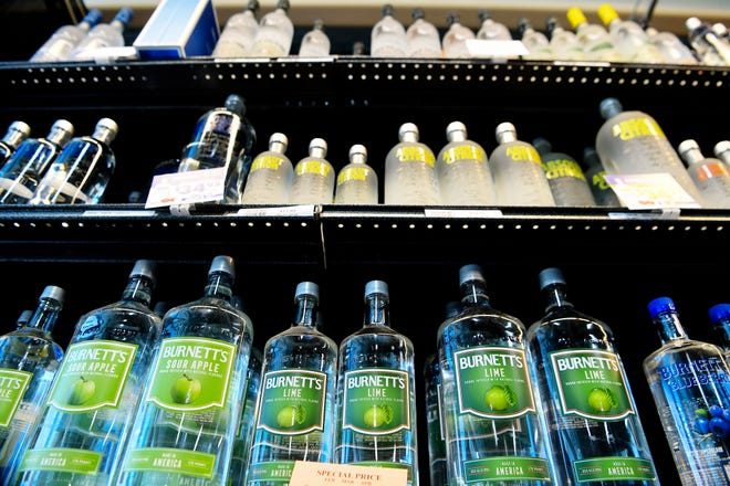 Liquor sales did spike in the Asheville area in 2020, as the pandemic took hold of the area. This file photo shows vodka for sale at the ABC Store on Tunnel Road in Asheville March 28, 2019.