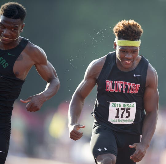 """D'Wayne Eskridge was named the 2016 """"Mr. Track and Field"""" for the state of Indiana after sprinting to a pair of state championships while at Bluffton High School."""