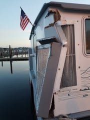 The Admiral Pete suffered damage in a collision with WSF's Chimacum on Friday morning.