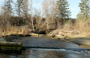 FILE — Highway 3 is visible from Chico Creek. A construction project that starts this month will work to replace box culverts with a bridge that better enables salmon passage upstream.