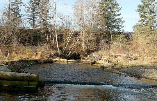 Chico Creek flows through two small culverts under Highway 3.