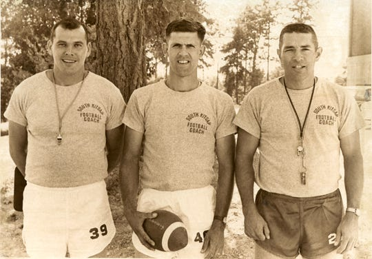 """If South Kitsap football coach Dan Ericson is planning an """"old-school"""" look for the Wolves' coaching staff, this 1967 photo of South Kitsap coaches could provide some inspiration."""