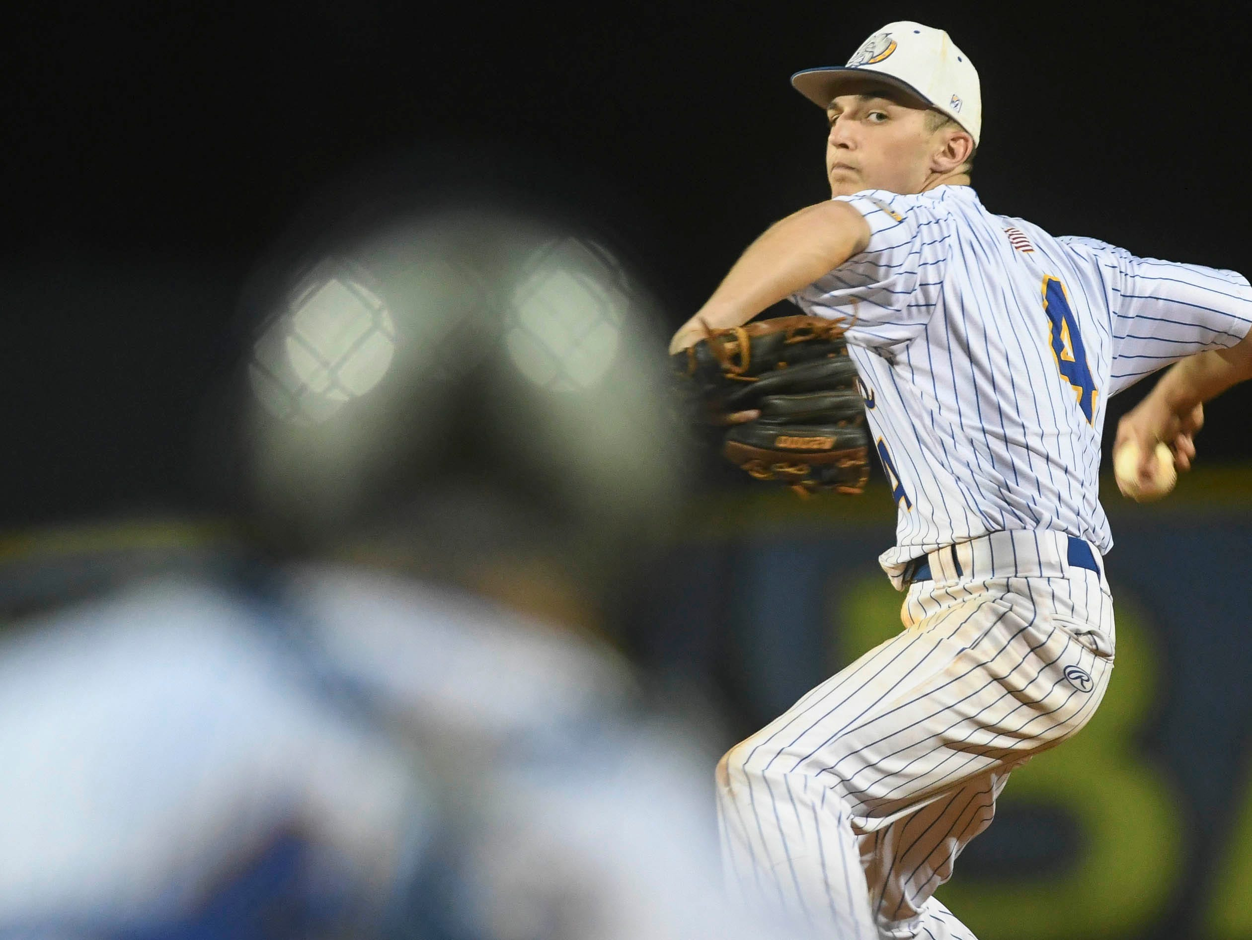 Titusville's Trey Felker pitches during Thursday's game against Astronaut.
