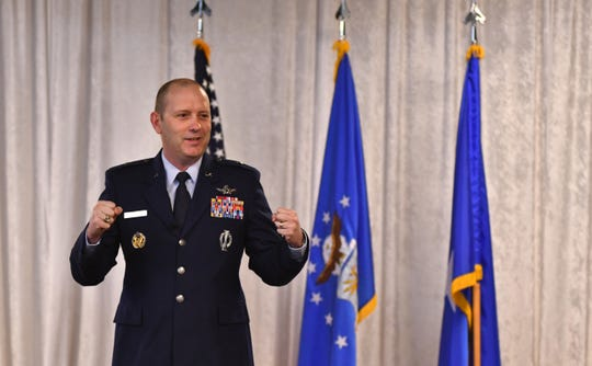 45th Space Wing Commander Brig. Gen. Doug Schiess, currently teleworking due to the coronavirus, speaks during an event in 2019. He said Tuesday that launches are critical operations and will resume as much as possible.