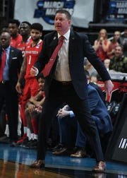 March 28, 2019; Anaheim, CA, USA; Texas Tech Red Raiders head coach Chris Beard watches game action against the Michigan Wolverines during the first half in the semifinals of the west regional of the 2019 NCAA Tournament at Honda Center. Mandatory Credit: Richard Mackson-USA TODAY Sports
