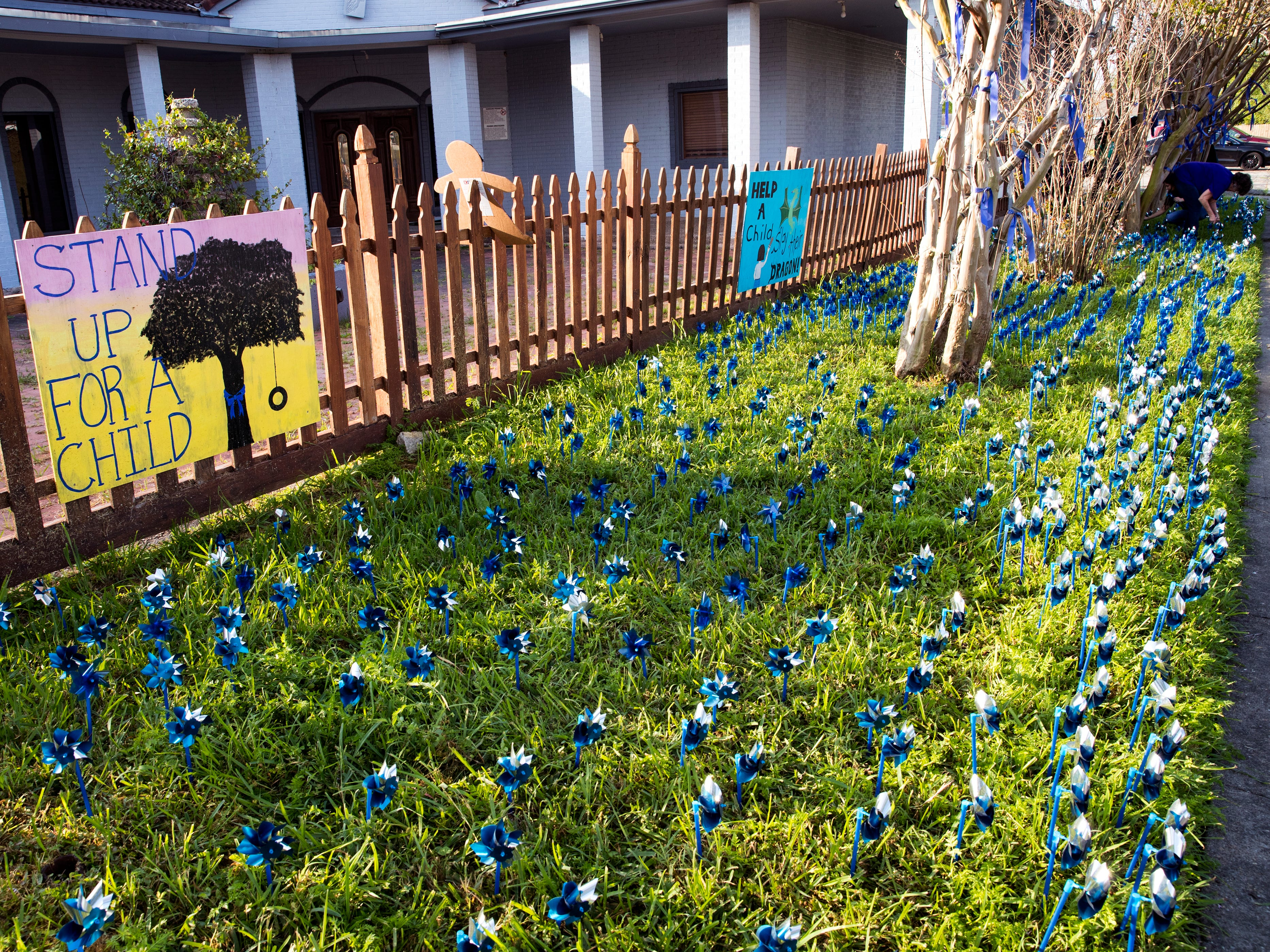 Pinwheels were installed in front of CASA of the Coastal Bend on Friday, March 29, 2019. The 1,066 pinwheels represent a child from the Coastal Bend who was in foster care last year and will stay up throughout the month of April, which is Child Abuse Awareness Month.