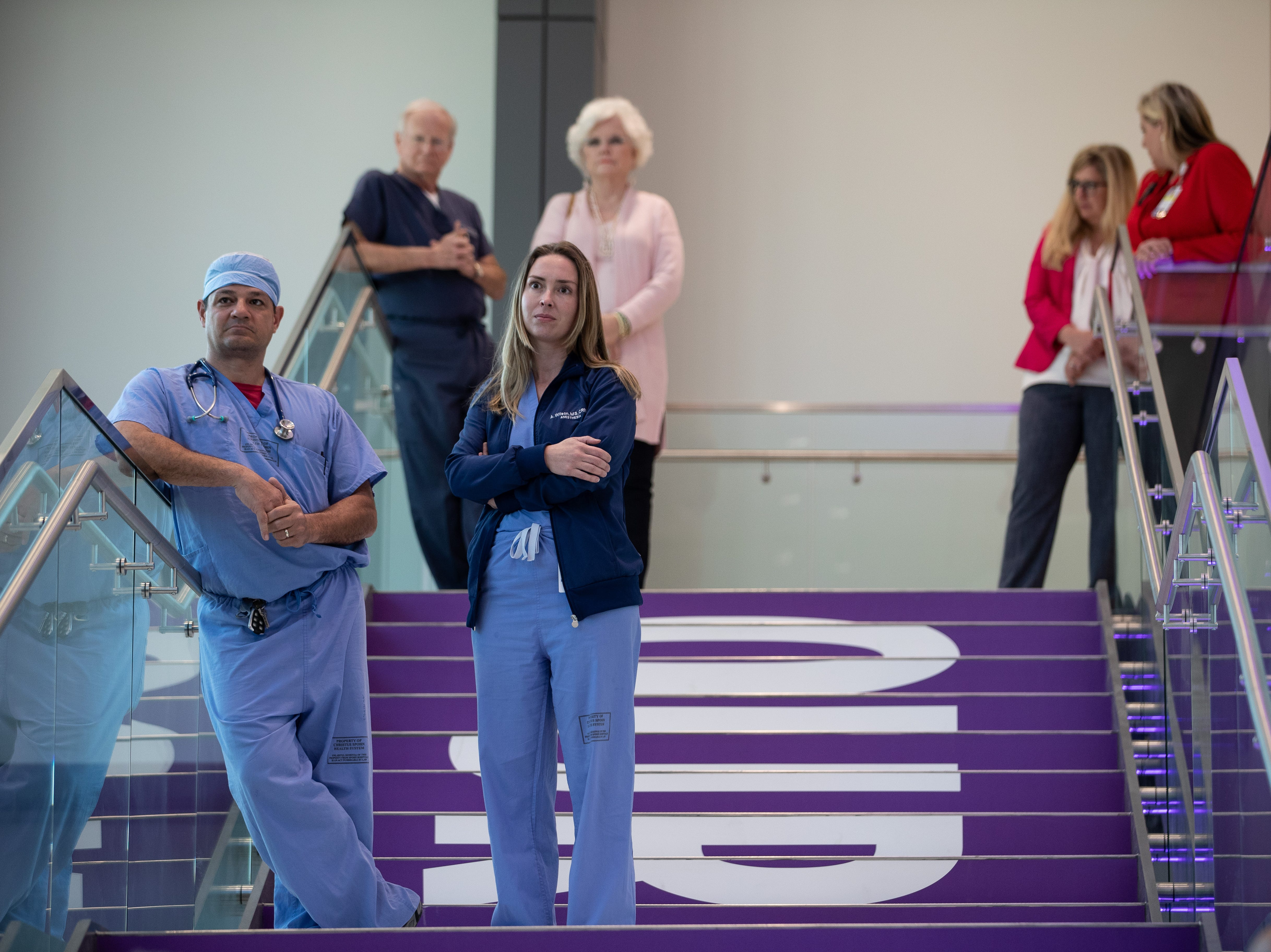 Doctors watch during the opening new $335 million North Tower at Shoreline Hospital on Thursday, March 28, 2019.