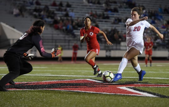 Ray and Gregory-Portland face off during the Class 5A bi-district girls soccer playoff game, Thursday, March 28, 2019 at Buccaneer Stadium .