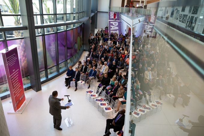 CHRISTUS Spohn Heath System President Dr. Osbert Blow speaks during the opening new $335 million North Tower at Shoreline Hospital on Thursday, March 28, 2019.