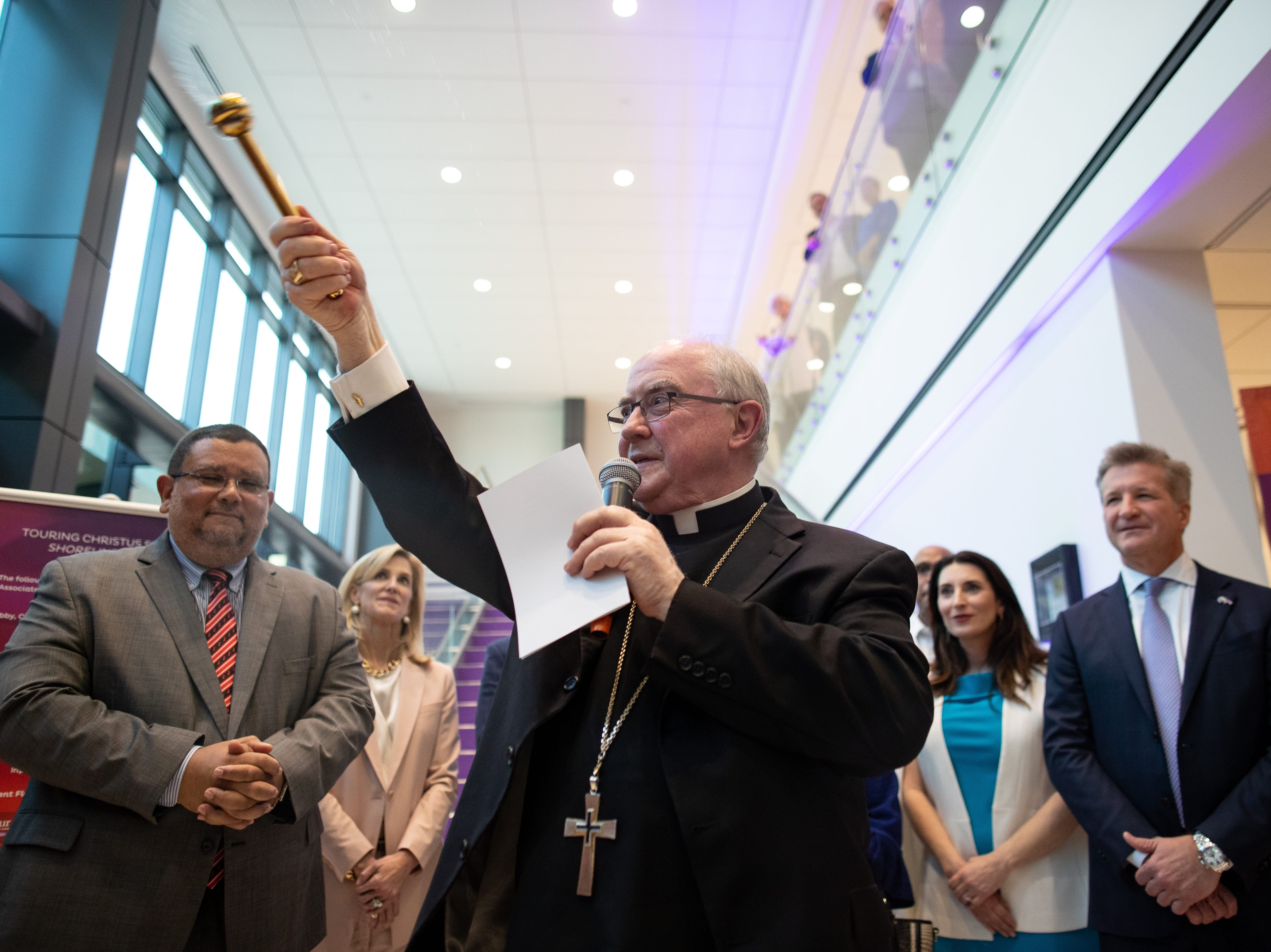 Bishop Michael Mulvey blesses CHRISTUS Spohn Heath System new $335 million North Tower at Shoreline Hospital on Thursday, March 28, 2019.