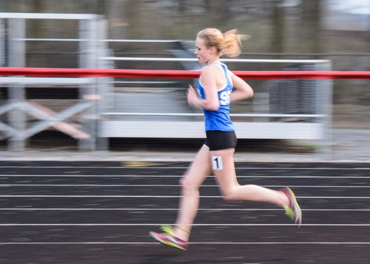 Chillicothe's Laikin Tarlton took first place in the girls' 3200-meter run with a time of 12:06.65 at the Zane Trace Invitational on March 28, 2019.