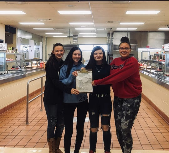 (L-R) Shianna Roll, Carolyn Hubbard, Brynn Justice and Sierra Saxon. The FCCLA Ohio group started a petition and is working towards deregulating school lunches in order to meet local needs.