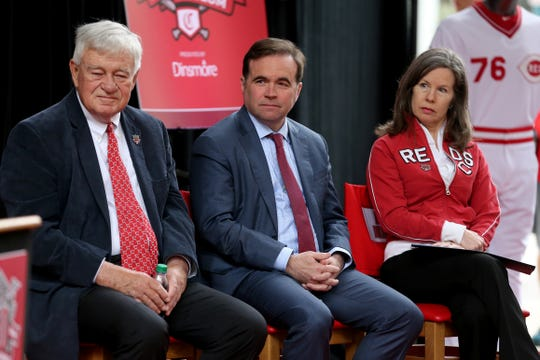 From left: Cincinnati Reds CEO Bob Castellini, Mayor John Cranley and Hamilton County Commissioner Denise Driehaus listen as Reds Hall of Fame catcher Johnny Bench speaks during a ceremony re-opening the Hall of Fame and Museum following an extensive $5.5 million renovation, Friday, March 29, 2019, at Great American Ball Park in Cincinnati.