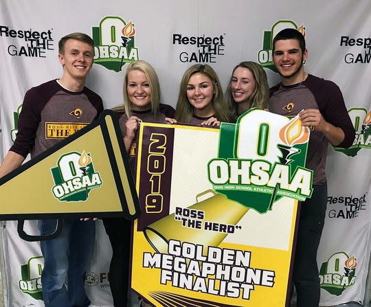 From left: Steven Knebel, Whitley Arno, Elizabeth Roberts, Jenna Hill, and Keegan Nickoson competed in the Golden Megaphone competition.
