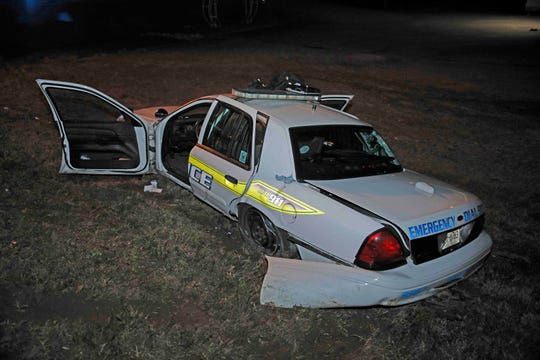 A Clarksville Police Department patrol vehicle wrecked Thursday night during a response when a car pulled into the officer's lane.