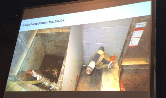 Edison's decaying Millbrook pump station was one of many displayed at a five-hour public hearing about a controversial $811-million water and sewer deal with Suez North American on Thursday at Middlesex County College.