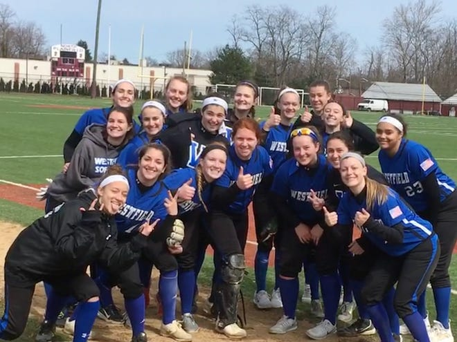 Westfield Softball Team Poses After A Victory At Krauche Field Over Somerville 4 7 18