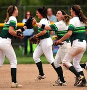Ridge girls softball team celebrates their win over Bridgewater-Raritan softball in the Somerset County Tournament quarterfinals. Saturday May 5, 2018 photo by Ed Pagliarini