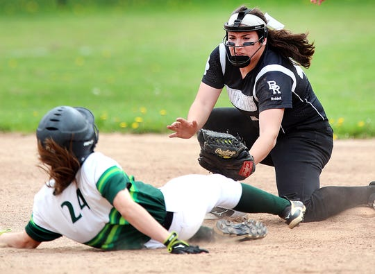 Ridge vs Bridgewater-Raritan softball in the Somerset County Tournament quarterfinals. BW #40 Grace Venutos tags out at second Ridge #24 Katelyn Behar Saturday May 5, 2018 photo by Ed Pagliarini