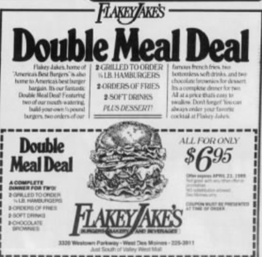 A coupon advertisement for Flakey Jake's that appeared in the Des Moines Register in 1989.