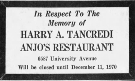 A memorial announcement for one of Anjo's original owners that ran in the Des Moines Tribune in 1970.