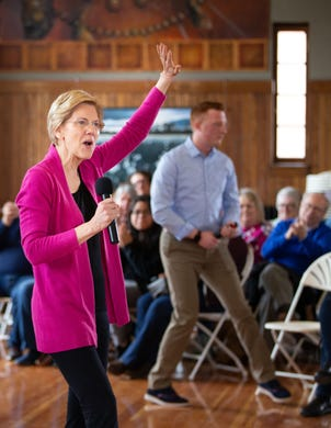 Democratic presidential candidate Sen. Elizabeth Warren, D-Mass., speaks at a campaign event in Perry Friday, March 29, 2019.