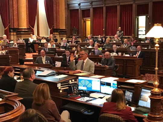 The newest member of the Iowa Senate, Democrat Eric Giddens, is sworn in on Monday, March 25, 2019. Giddens won a special election to represent Senate District 30, which includes Cedar Falls, Hudson and parts of Waterloo.