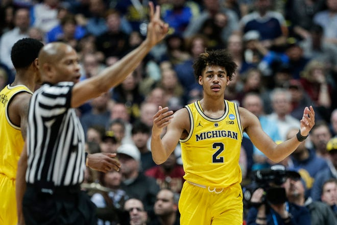 Michigan guard Jordan Poole (2) reacts to his third personal foul during the second half of the 63-44 loss in the Sweet 16 against Texas Tech in Anaheim, Calif., Thursday, March 28, 2019.