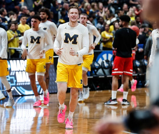 Michigan forward Ignas Brazdeikis takes the court for warm up before the Sweet 16 against Texas Tech at the Honda Center in Anaheim, Calif., Thursday, March 28, 2019.