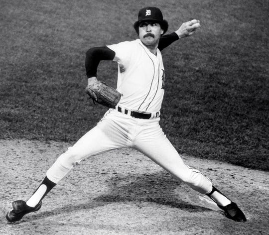 Detroit Tigers' Willie Hernandez pitches in Game 3 of the World Series at Tiger Stadium, Oct. 12, 1984.