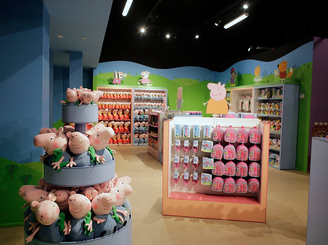 The gift shop at Peppa Pig World of Play attraction at Great Lakes Crossing in Auburn Hills, Mich. photographed on Friday, March 29, 2019.